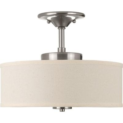 Inspire Collection 17 -Watt Brushed Nickel Integrated LED Semi-Flush Mount