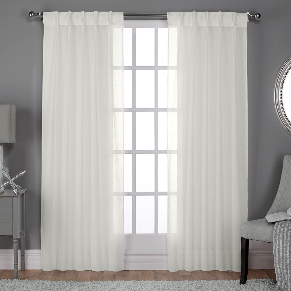 awesome Textured Sheer Curtains Part - 1: Belgian Pinch Pleat Snowflake Textured Linen Look Jacquard Sheer Window  Curtain