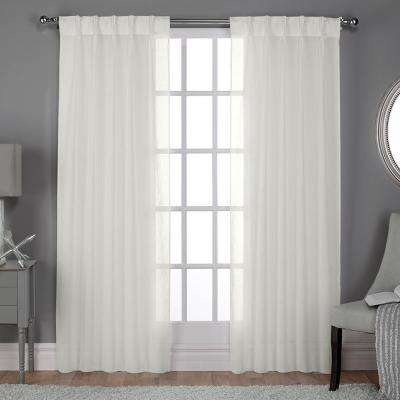 Belgian 30 in. W x 96 in. L Sheer Pinch Pleat Top Curtain Panel in Snowflake (2 Panels)