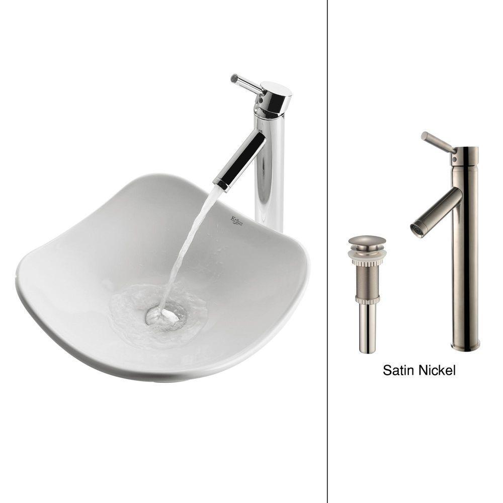 KRAUS Tulip Ceramic Vessel Sink in White with Sheven Faucet in Satin Nickel