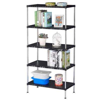 13.8 in. 23.6 in. Black Decorative Shelf