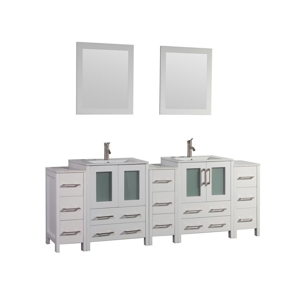 Vanity Art Brescia 84 in. W x 18 in. D x 36 in. H Bath Vanity in White with Vanity Top in White with White Basin and Mirror