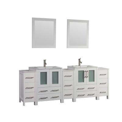 Brescia 84 in. W x 18 in. D x 36 in. H Bath Vanity in White with Vanity Top in White with White Basin and Mirror