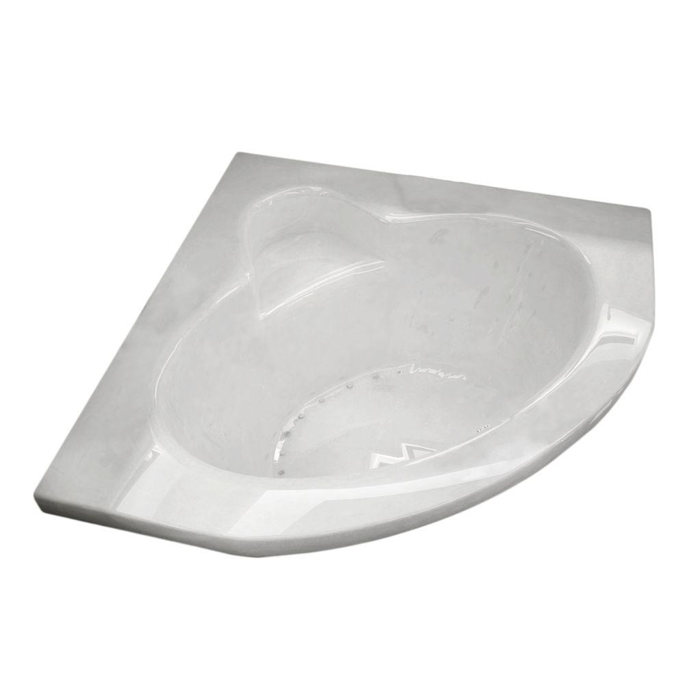 Jaspers 5 ft. Acrylic Corner Drop-in Air Bathtub in White
