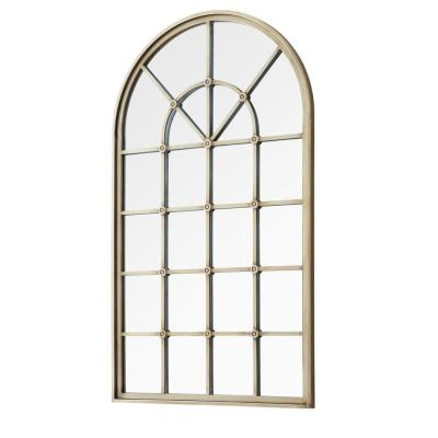 Large Arch Antique Pewter Antiqued Modern Mirror (50 in. H x 29 in. W)