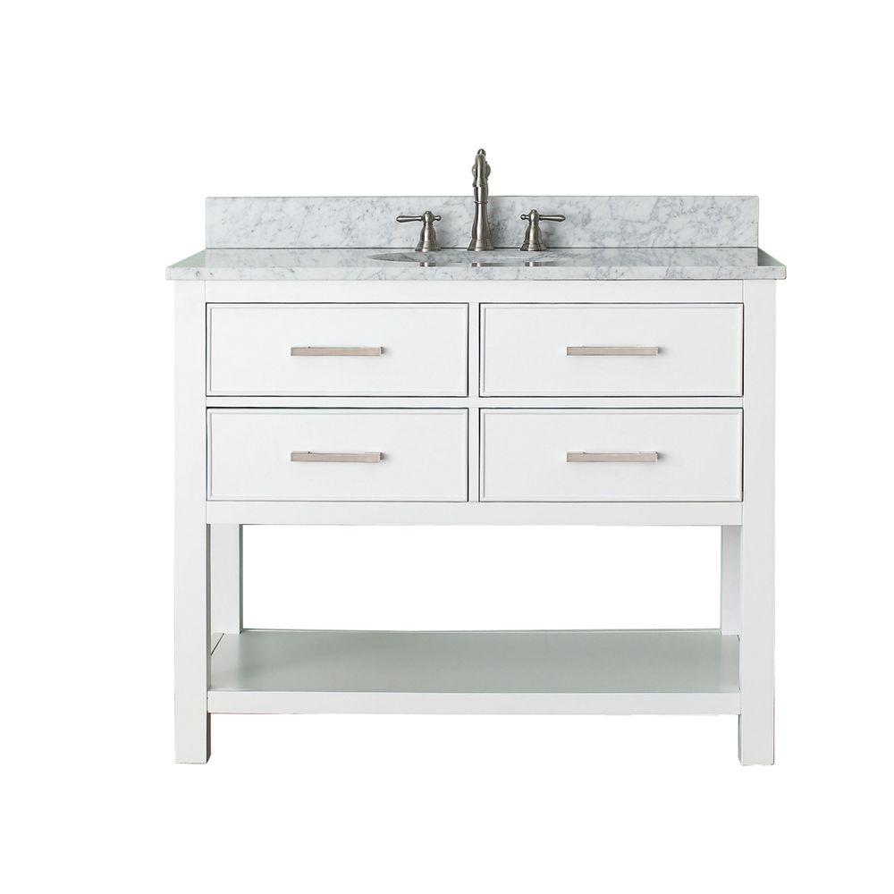 Avanity Brooks 43 in. W x 22 in. D x 35 in. H Vanity in White with Marble Vanity Top in Carrera White and White Basin