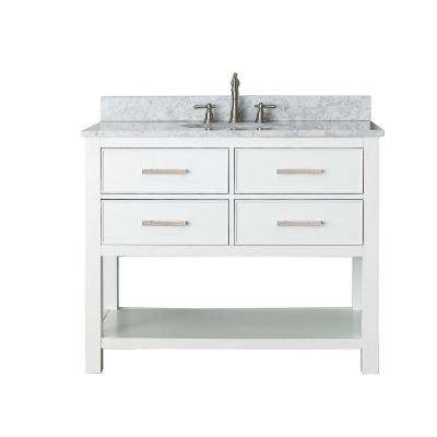 Brooks 43 in. W x 22 in. D x 35 in. H Vanity in White with Marble Vanity Top in Carrera White and White Basin