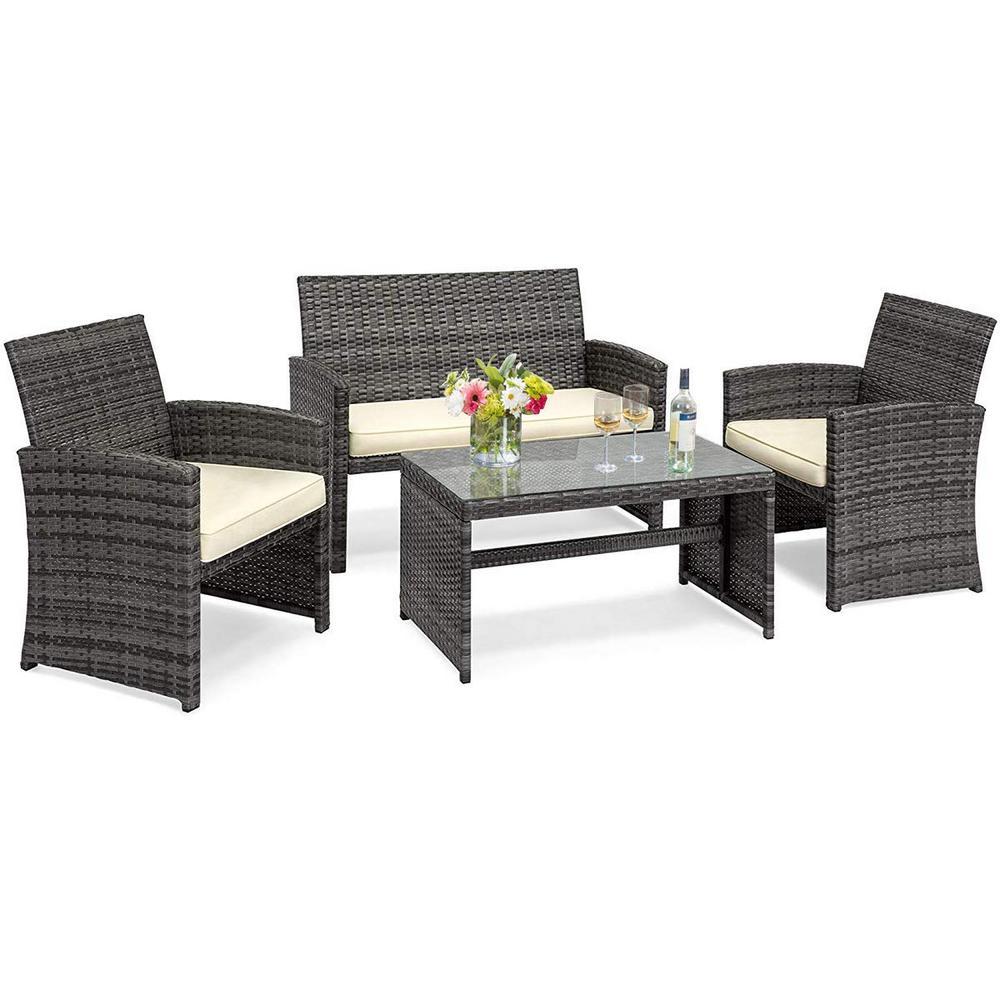 4-Piece Wicker Rattan Patio Conversation Set Chair with Beige Cushions