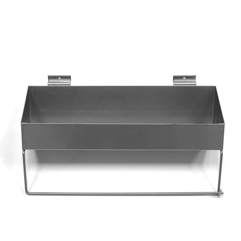 Proslat 16.5 in. H x 6 in. W x 10 in. D Silver Paper Towel Holder/Solid Shelf