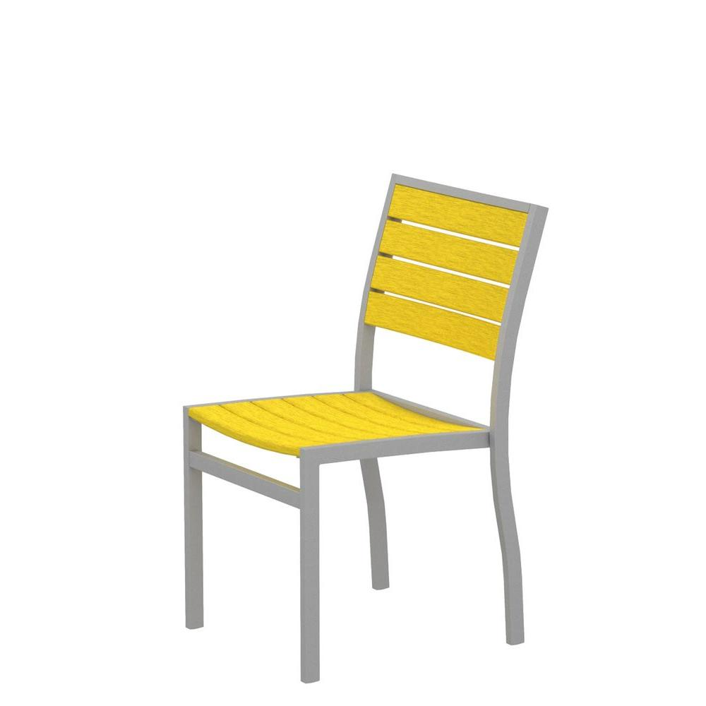 Euro Textured Silver Patio Dining Side Chair with Lemon Slats