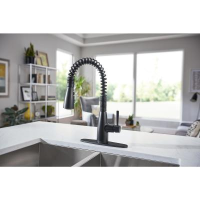 Springvale Single-Handle Pull-Down Sprayer Kitchen Faucet with Reflex and Power Boost in Matte Black