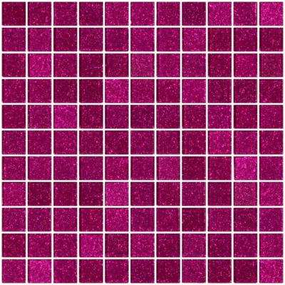 12 in. x 12 in. x 4 mm Tile Esque Fuchsia Pink Glitter Glass Mesh-Mounted Mosaic Tile