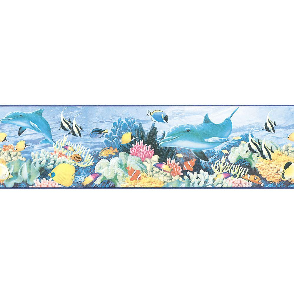 The Wallpaper Company 6.75 in. x 15 ft. Blue Ocean Life Border-DISCONTINUED