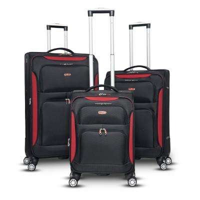 Glasgow 3-Piece Black/Red Softside Upright Spinner Luggage Set