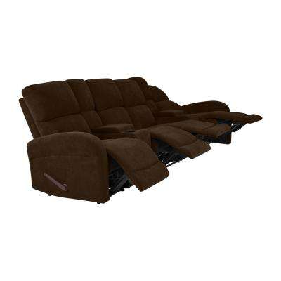 Modular Chocolate Brown Chenille Recliner Sofa with Two Storage Consoles and USB Ports (4-Seat)