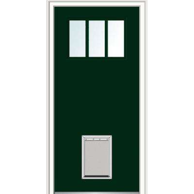 36 in. x 80 in. Classic Right-Hand Inswing 3-Lite Clear Painted Fiberglass Smooth Prehung Front Door with Large Pet Door