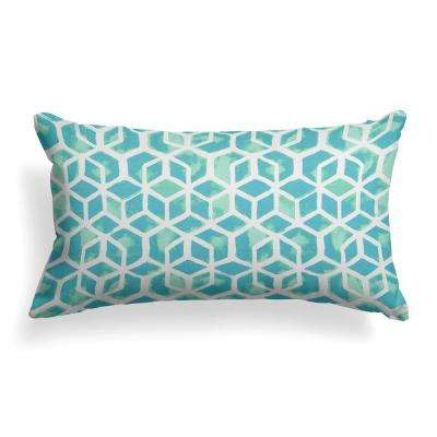 Teal Cubed Outdoor Lumbar Throw Pillow