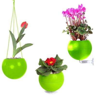 7 in. x 6 in. x 7 in. Green Plastic, Table, Wall and Ceiling Planter (3-Pack)