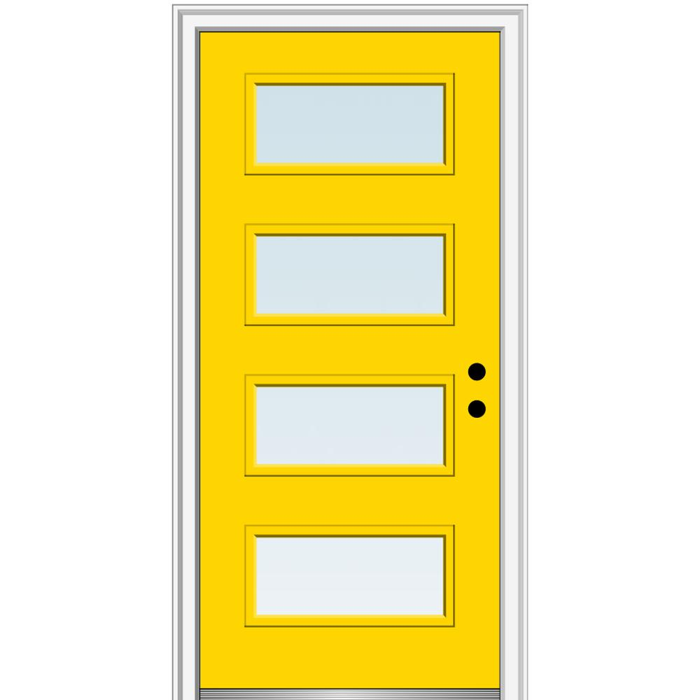 MMI Door 32 in. x 80 in. Celeste Low-E Glass Left-Hand Inswing 4-Lite Clear Painted Steel Prehung Front Door