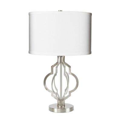 26 in. Odette Quatrefoil Cutout Antique Bronze Table Lamp with Shade