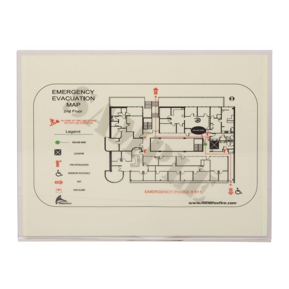 LumAware 8 in. x 12 in. Photoluminescent Evacuation Map Holder on map beverly hills, map monticello, map new port richey, map storage, map of central louisiana, map rack, map case,