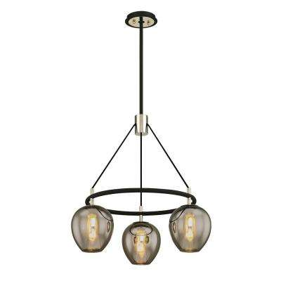 Iliad 3-Light Carbide Black 26 in. W Pendant with Plated Smoke Glass