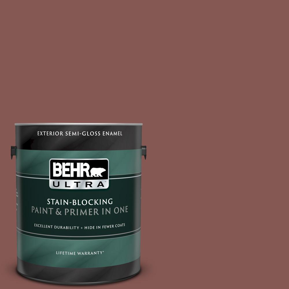 Behr Ultra 1 Gal Mq1 20 Rust Semi Gloss Enamel Exterior Paint And Primer In One