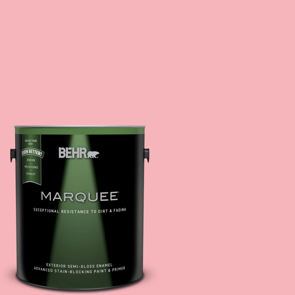 BEHR MARQUEE 1-gal. #130A-3 Ballerina Pink Semi-Gloss Enamel ...