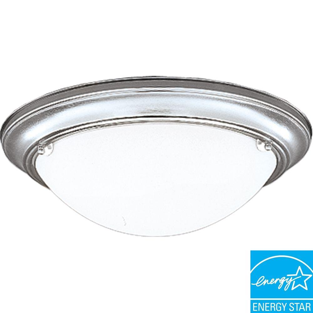 Progress Lighting Eclipse Collection Brushed Steel 2-Light Flushmount-DISCONTINUED