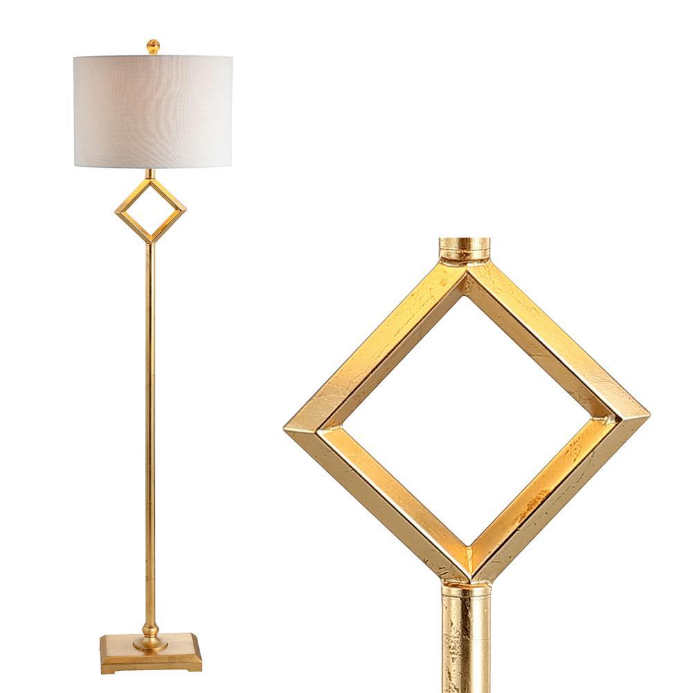 JONATHAN Y Juno 62.5 in. Gold Leaf Metal LED Floor Lamp ...