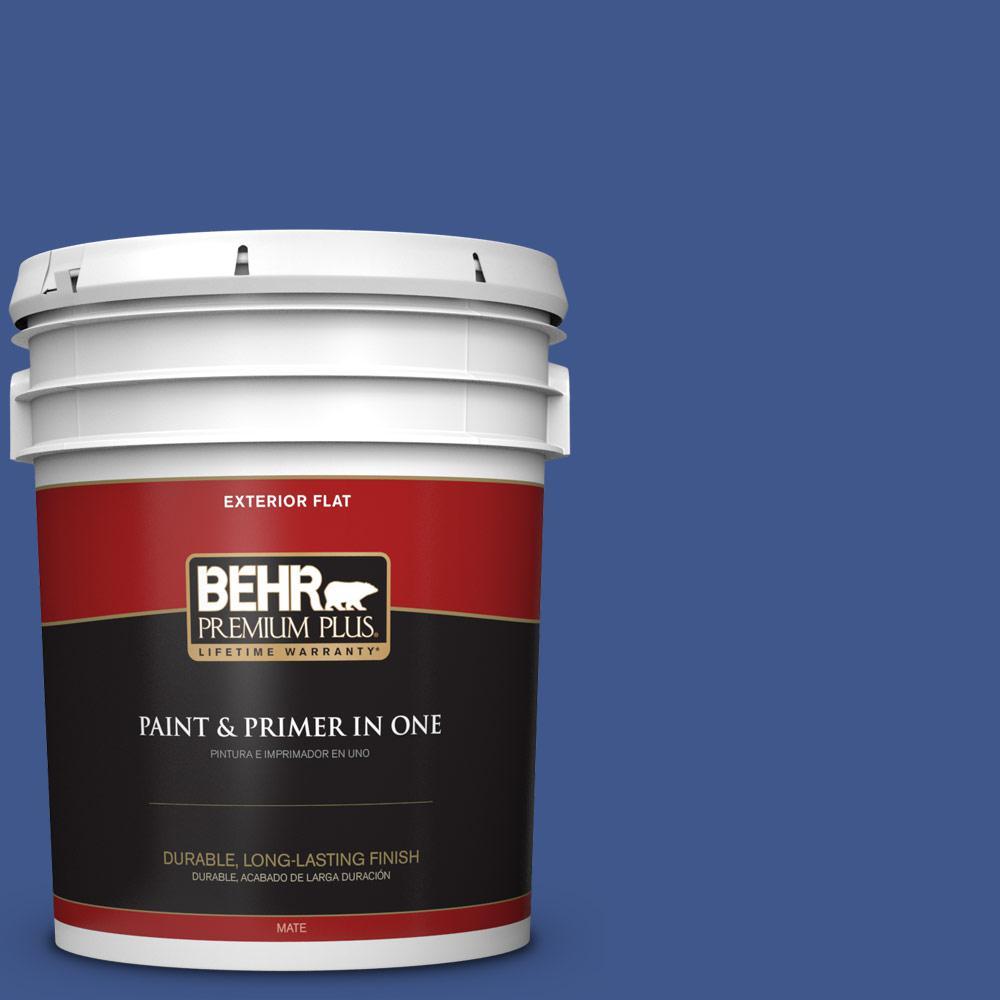 5 gal. #PPU15-03 Dark Cobalt Blue Flat Exterior Paint