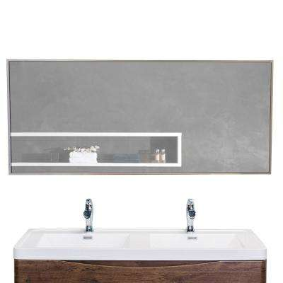 Sax 57 in. W x 20 in. H Metal Frame Wall Mounted Vanity Bathroom Mirror in Silver
