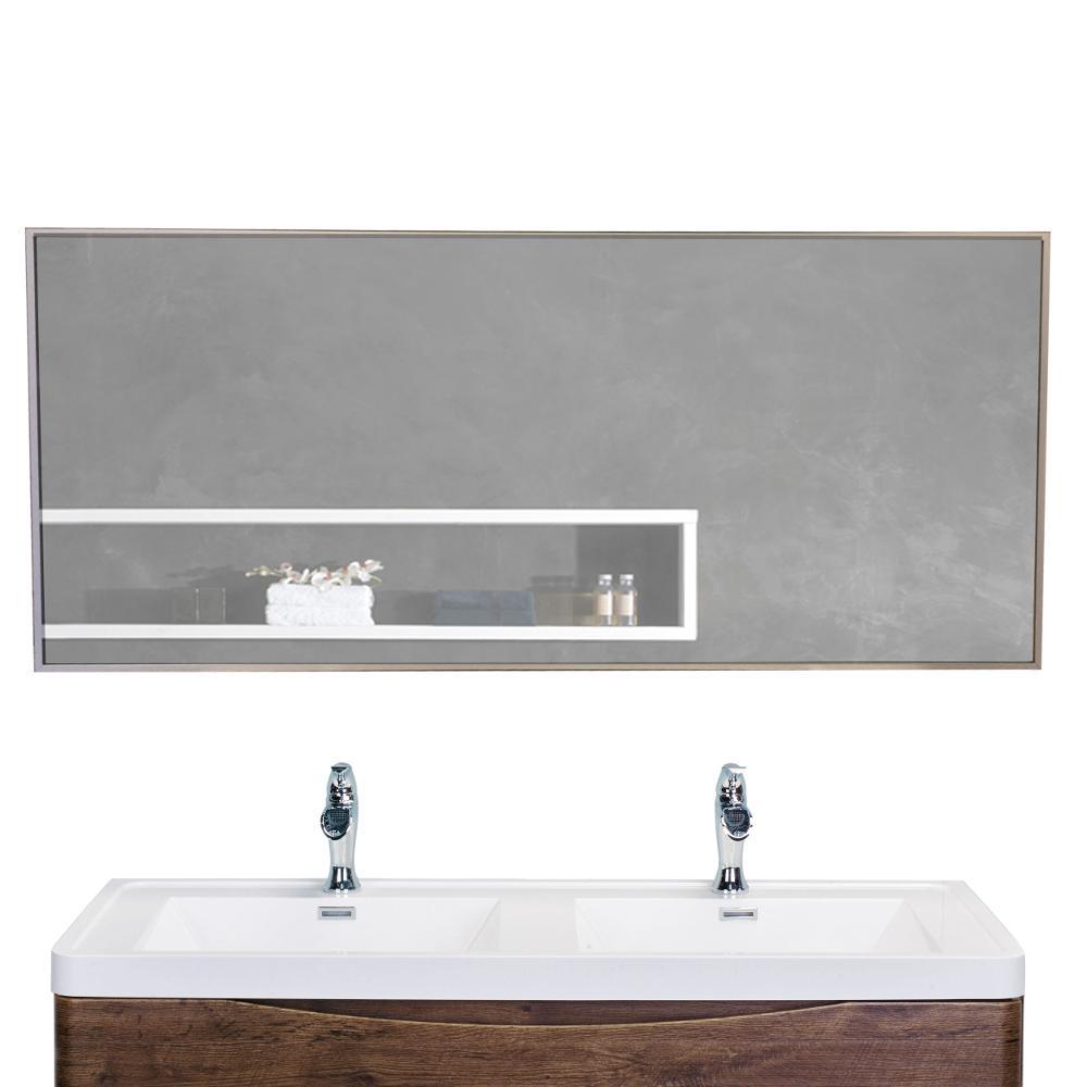 Sax 57 in. W x 20 in. H Framed Rectangular Bathroom Vanity Mirror in Brushed Silver