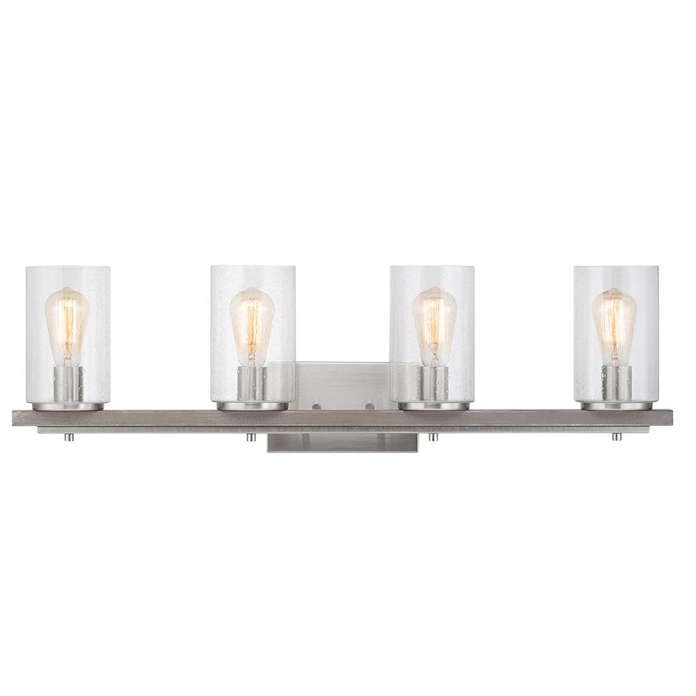 Home Decorators Collection Boswell Quarter 4-Light Brushed Nickel Vanity Light with Painted Weathered Gray Wood Accents