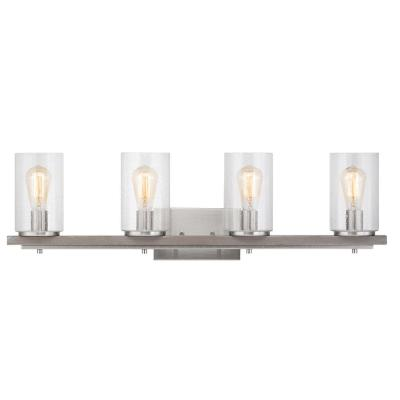 Boswell Quarter 4-Light Brushed Nickel Vanity Light with Painted Weathered Gray Wood Accents