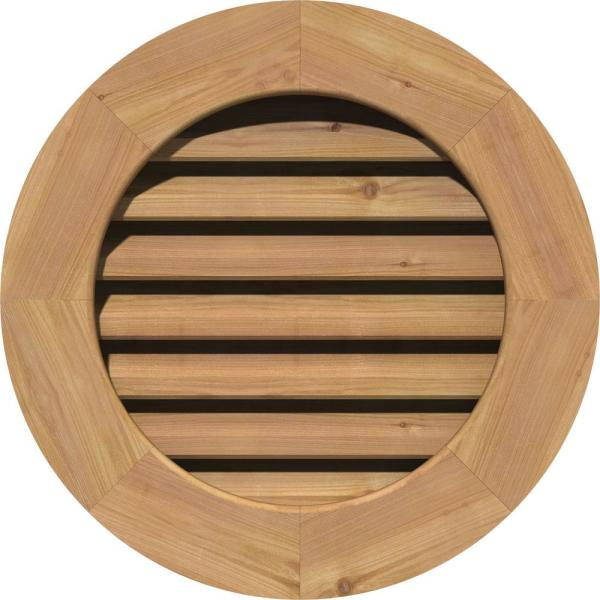 Ekena Millwork 33 In X 33 In Round Unfinished Smooth Western Red Cedar Wood Paintable Gable Louver Vent Gvwro28x2800sfuwr The Home Depot