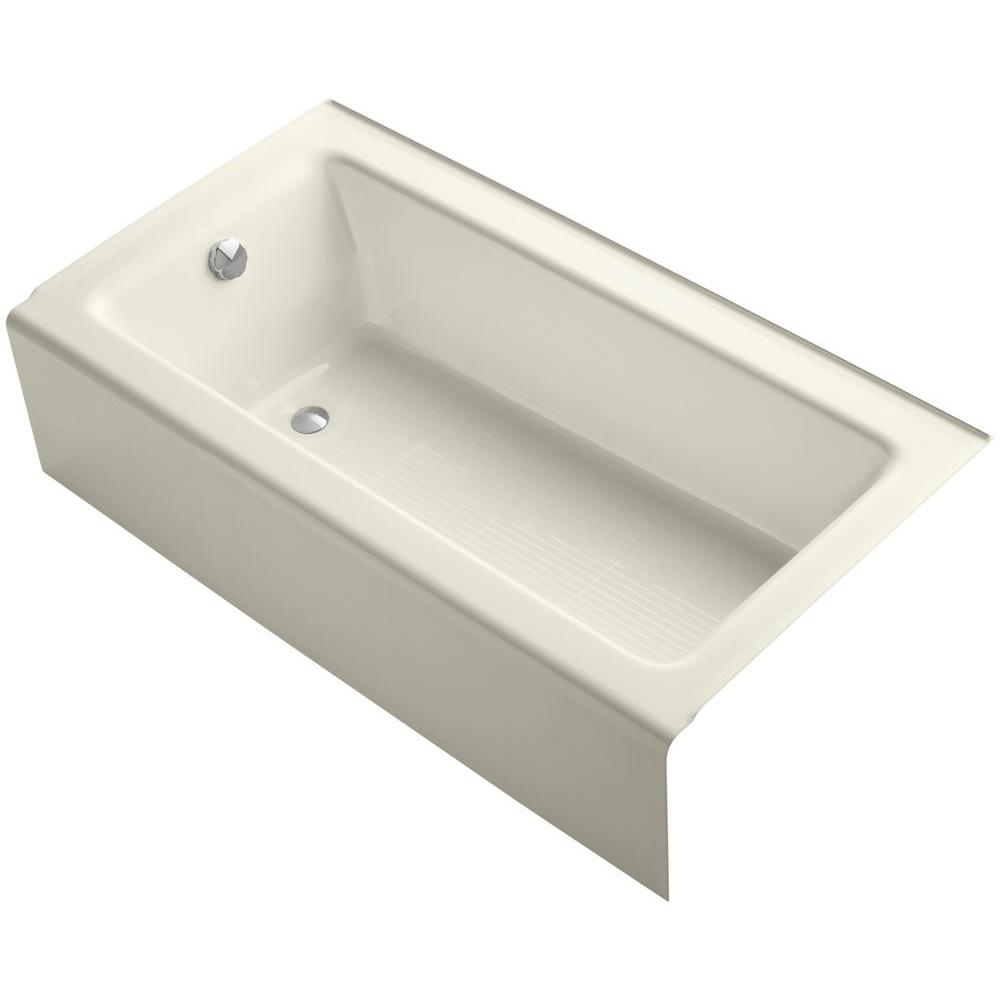 Bellwether 5 ft. Left Drain Rectangular Alcove Soaking Tub in Biscuit