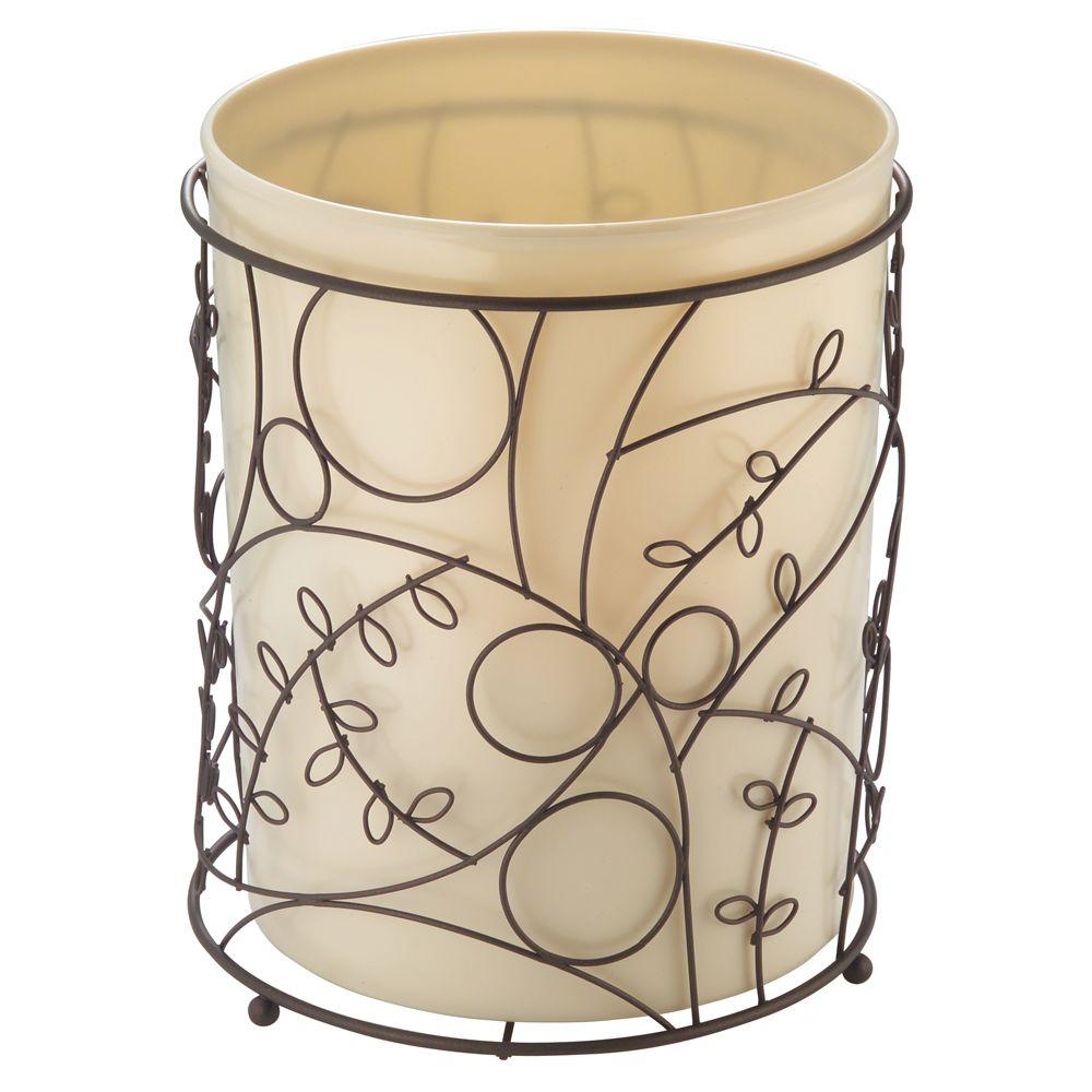 Interdesign twigz waste can in bronze and vanilla 76991 the home depot for Oil rubbed bronze bathroom wastebasket