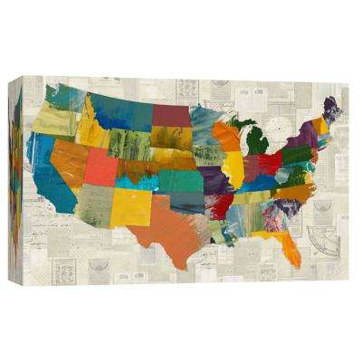 10 in. x 12 in. ''Collaged US Map'' Printed Canvas Wall Art