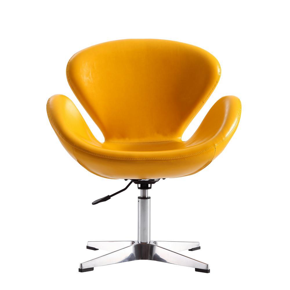 Yellow Leatherette Raspberry Adjustable Swivel Chair