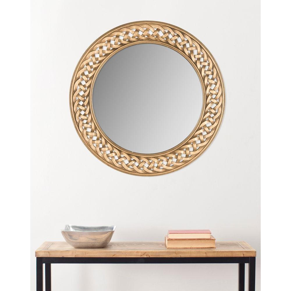 Braided Chain 24 in. H x 24 in. W Round Framed Mirror