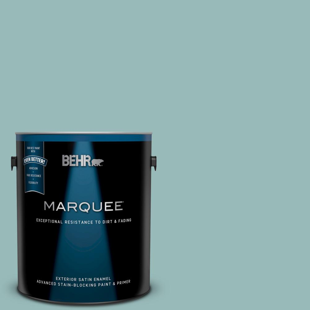 Behr Marquee 1 Gal Ppu12 06 Lap Pool Blue Satin Enamel Exterior Paint And Primer In One 945401 The Home Depot