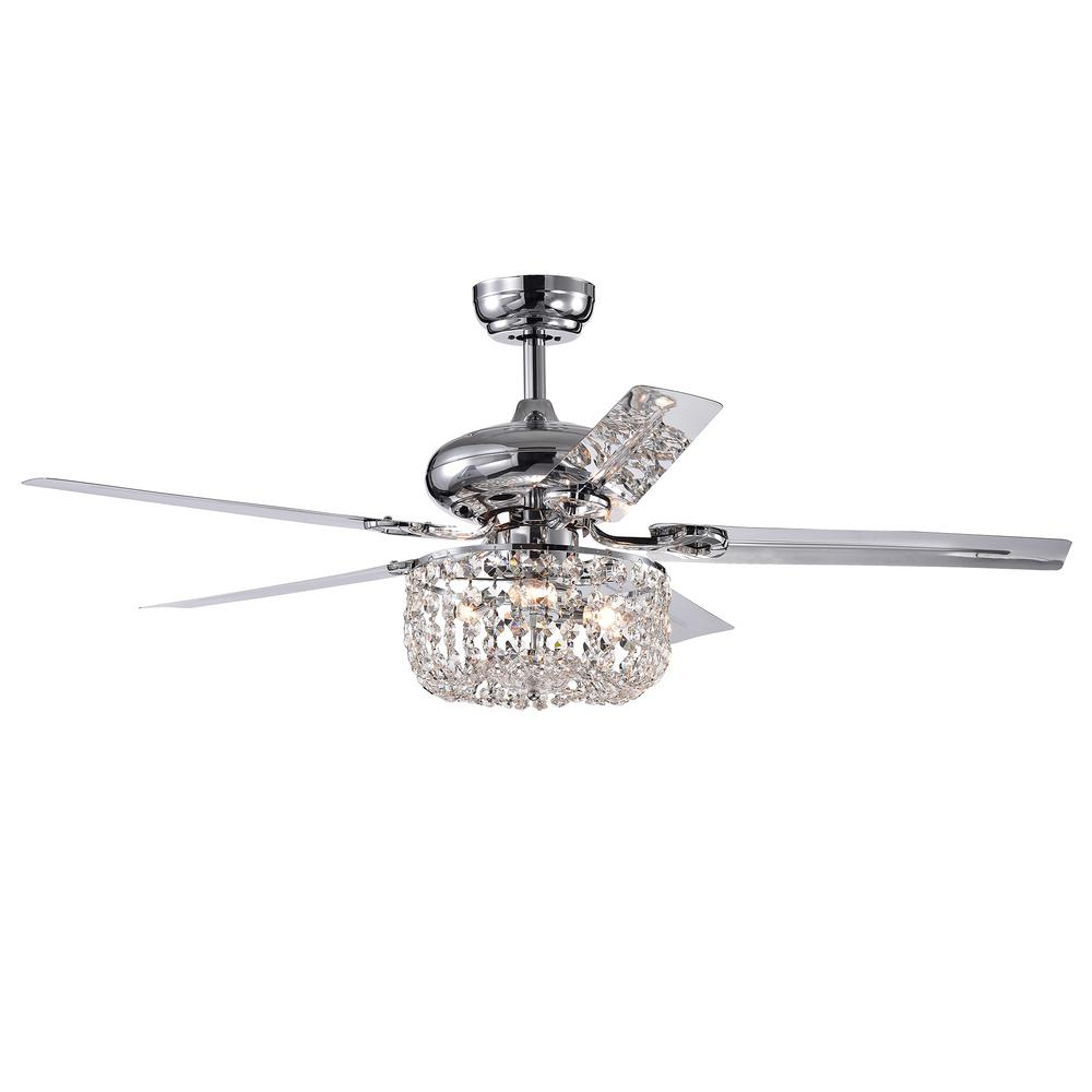 Warehouse of Tiffany Silver Orchid Campbell 48 in. Indoor Chrome Remote Controlled Ceiling Fan with Light Kit