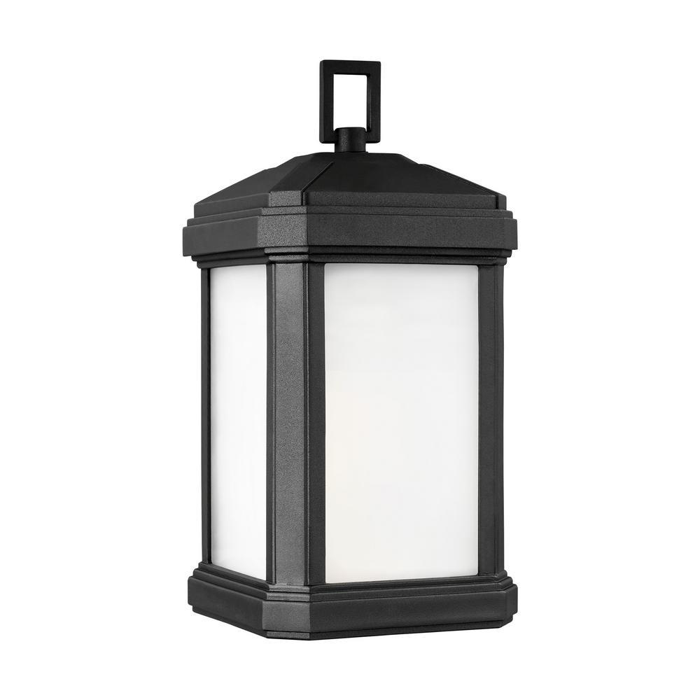 Sea Gull Lighting Gaelan 1-Light Black Outdoor 14.25 in. Wall Lantern Sconce with LED Bulb