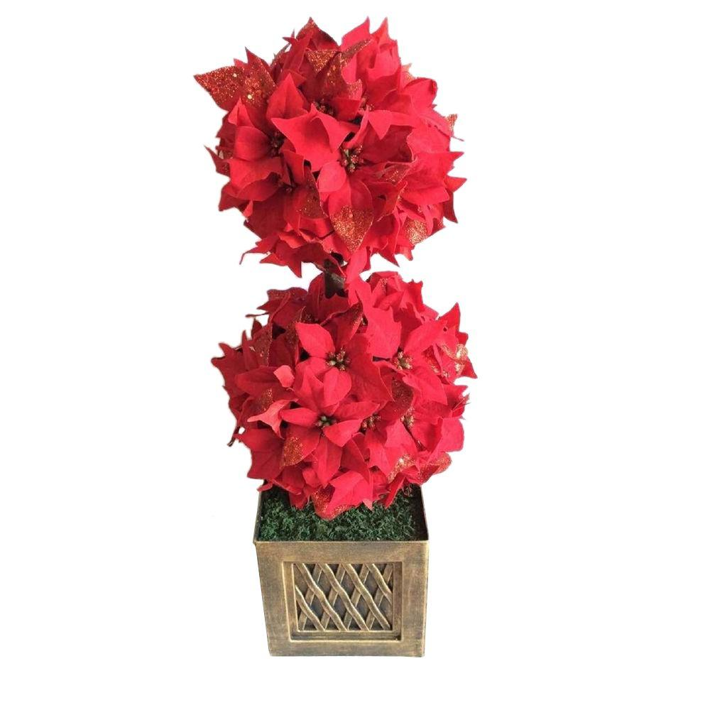 home accents holiday 2417 ft indoor artificial christmas tree with poinsettia topiary in pot - Christmas Tree In A Pot