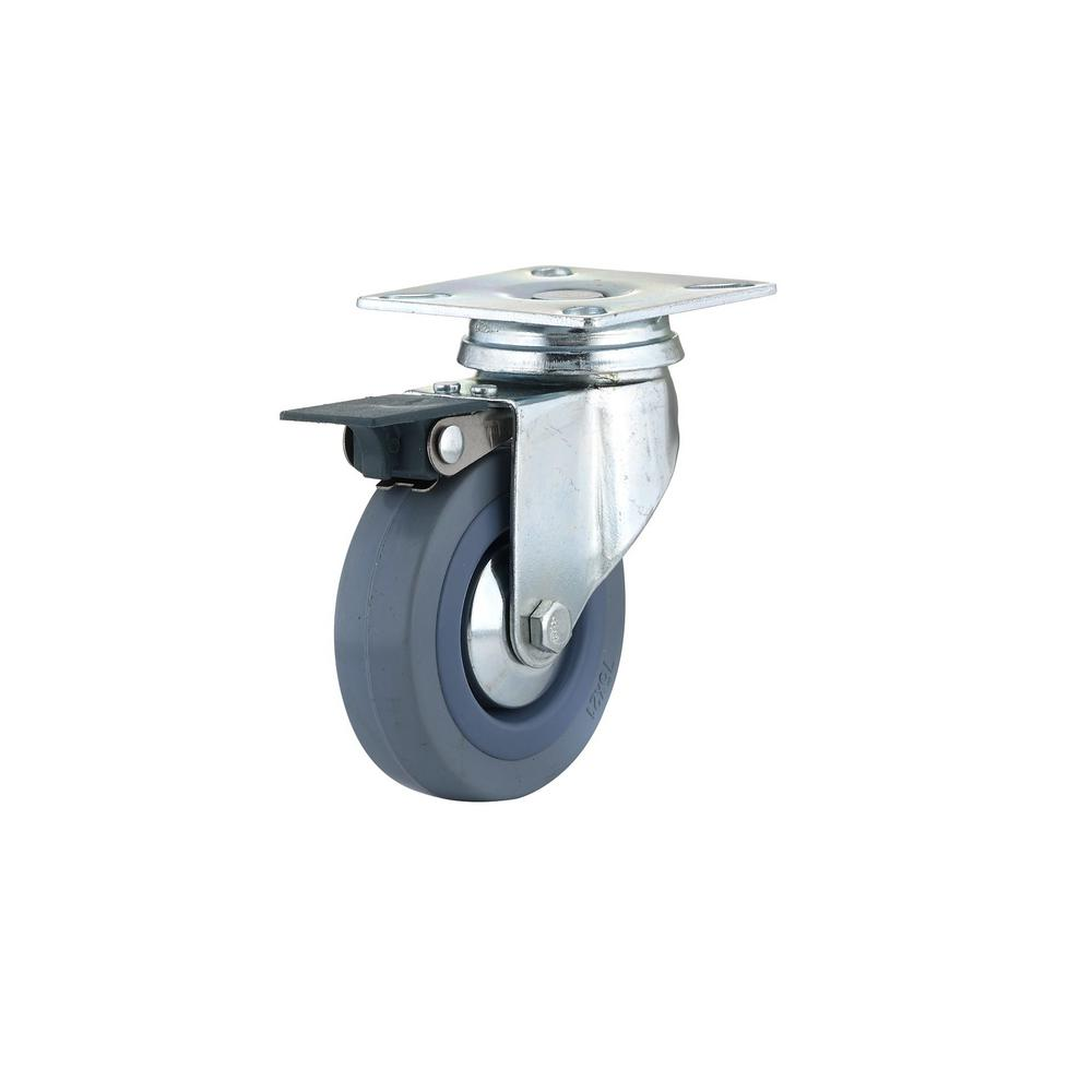 2-15/16 in. Gray Swivel with Brake plate Caster, 132.3 lb. Load