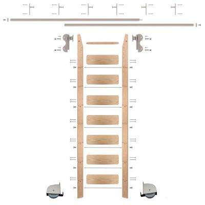 8 ft. Red Oak Ladder (9 ft. Reach) Satin Nickel Contemporary Rolling Hook Hardware 12 ft. Rail and Vertical Brackets