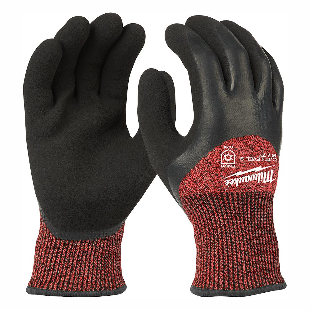 Milwaukee Small Red Latex Dipped Cut 3 Resistant Winter Insulated Work Gloves