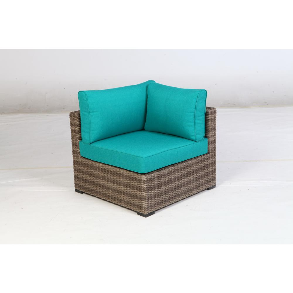 Hampton Bay Muirwood Aluminum Corner Outdoor Sectional Chair with Blue  Cushions