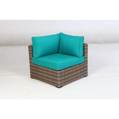 Muriwood Aluminum Corner Outdoor Sectional Chair with Blue Cushions